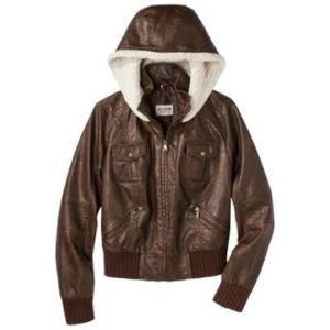 MOSSIMO SUPPLY CO Faux Leather Brown Hood Jacket